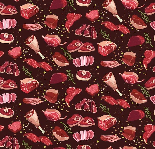 Piezas de carne fresca de corte de patrones sin fisuras