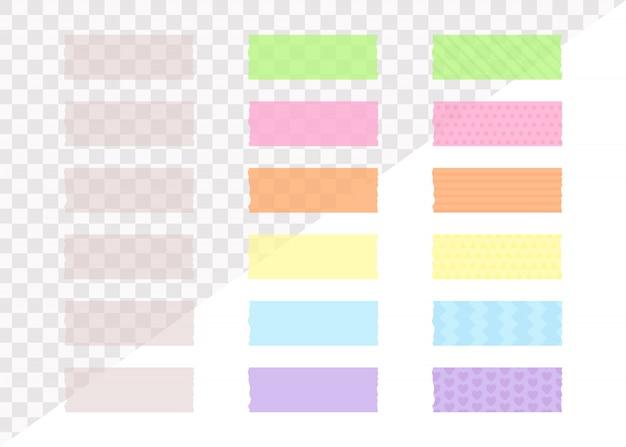 Piezas de cinta adhesiva transparente en estilo plano