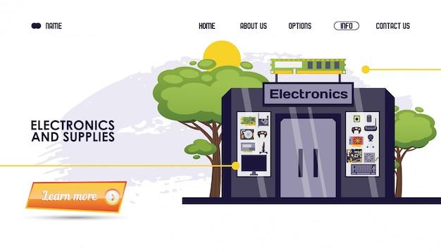 Piezas de computadoras, electrónica y suministros tienda ilustración. sitio web de la tienda, producto de gadget de la página del catálogo en línea, construcción.