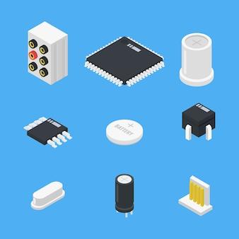 Piezas de electrónica set icono en estilo isométrico