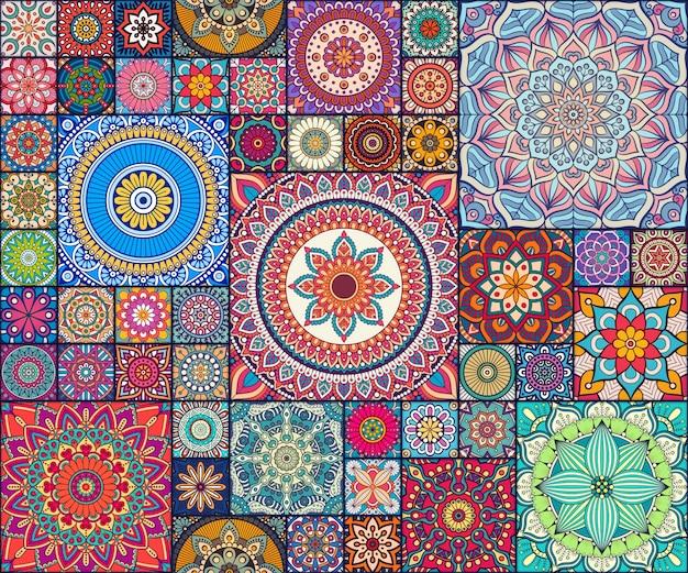 Piezas étnicas de patrón de mandala