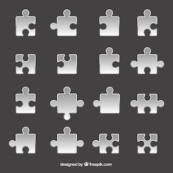 Piezas grises de rompecabezas