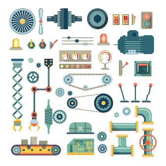 Piezas de maquinaria y conjunto de iconos planos de robot. equipo mecánico para industria, mecánico técnico de motores, tubería y válvula, absorbedor y pulsador
