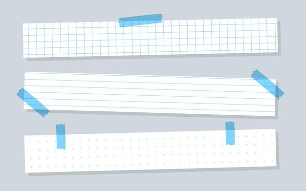 Piezas de papel blanco con plantillas horizontales forradas en azul a cuadros o hoja de línea hoja de cuaderno con ...