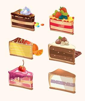 Piezas de pastel de dibujos animados. snack delicioso, baya y sabroso, pastel con cereza, comida dulce, pieza de postre. ilustración vectorial