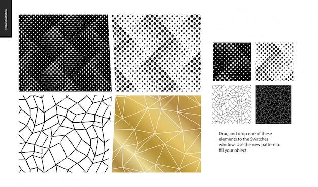 Piezas de patrones dibujados a mano