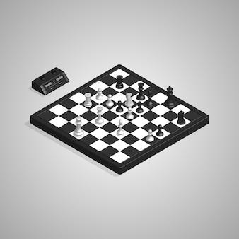 Piezas de tablero de ajedrez isométrico 3d y reloj
