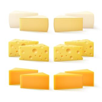 Piezas triangulares de varios tipos de queso cheddar suizo bri camembert