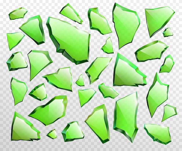 Piezas de vector realista de vidrio verde roto