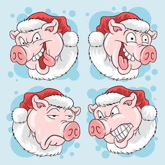 Pig head santa claus navidad