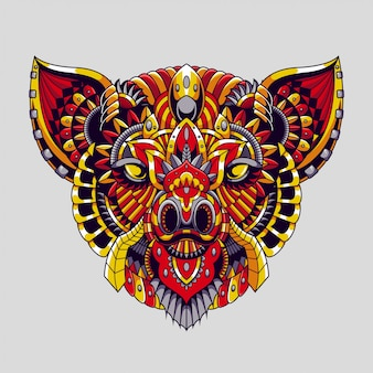 Pig mandala zentangle illustration and tshirt design premium vector