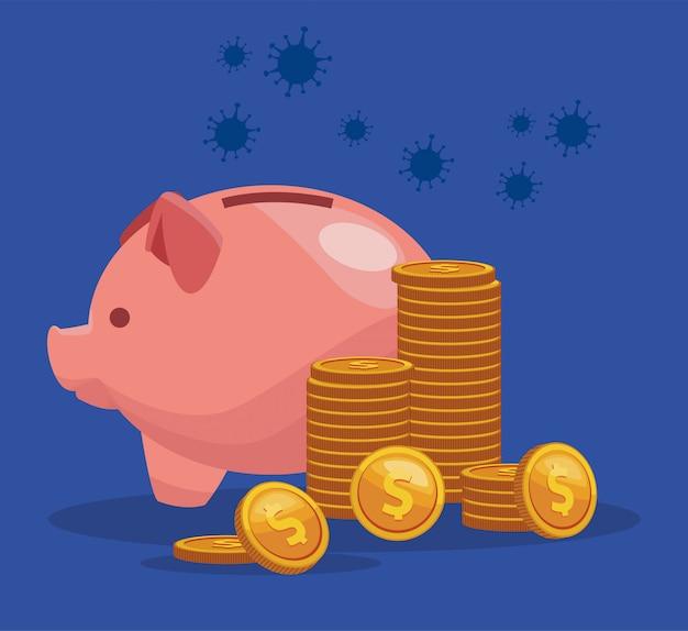 Piggy ahorros con monedas dinero dólares