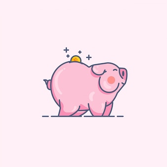Piggy bank line minimal style vector illustration