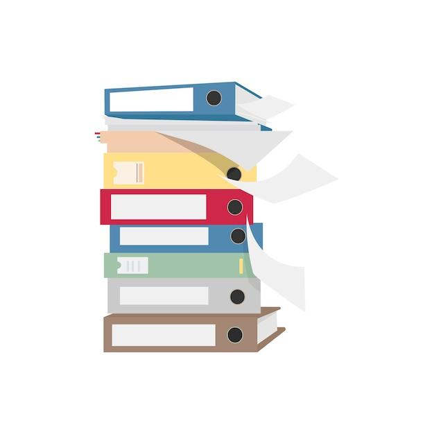 Pila de archivos y carpetas ilustración gráfica