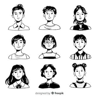 Pila de avatar de personas dibujadas a mano