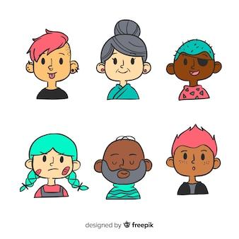 Pila de avatar de personas en diseño dibujado a mano