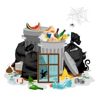 Pila de basura aislado en blanco