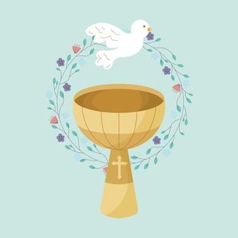 Pila bautismal con espíritu santo y corona floral, ilustración de dibujos animados
