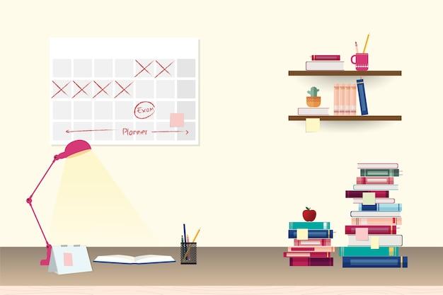 Pila de coloridos libros y artículos de papelería en la mesa y estantes