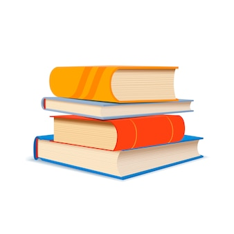 Pila de diferentes libros en blanco