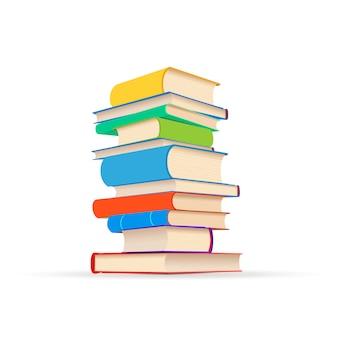 Pila de diferentes libros de texto coloridos aislados en blanco