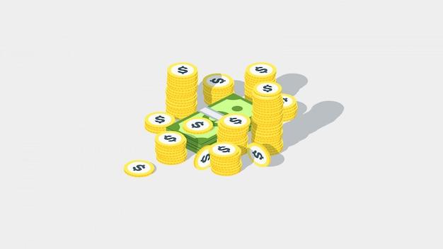 Pila de dinero isométrica pila con monedas de dólar dorado y paquete de dinero.