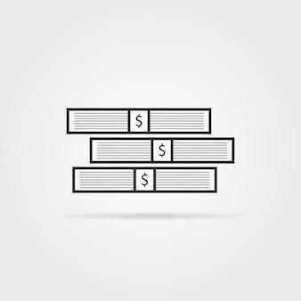 Pila de dinero negro con sombra. concepto de bolso, acciones, gran tesoro, fortuna, abundancia, montón, beneficio. tendencia de estilo plano logotipo moderno diseño gráfico ilustración vectorial sobre fondo blanco