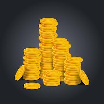 Pila grande de monedas de oro.