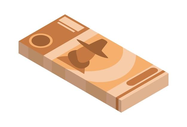 Pila isométrica de dinero. icono de moneda o efectivo. paquete de billetes. pila de símbolo de efectivo. facturas en paquete aislado sobre fondo blanco.