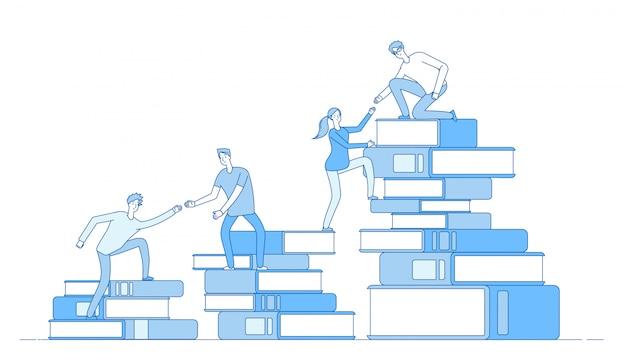 Pila de libro de personas. estudiantes escalando libros éxito empresarial nivel educativo personal desarrollo de habilidades aprendizaje material concepto