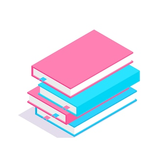 Pila de libros 3d isométrica. concepto de aprendizaje y educación.