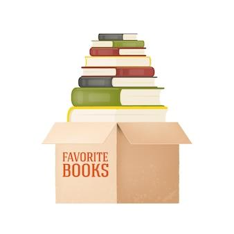 Pila de libros una caja de libros biblioteca ilustración sobre un fondo blanco.