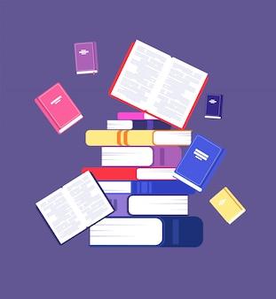 Pila de libros desordenados