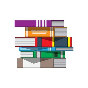 Pila de libros. educación en lectura, libros electrónicos, literatura, enciclopedia.