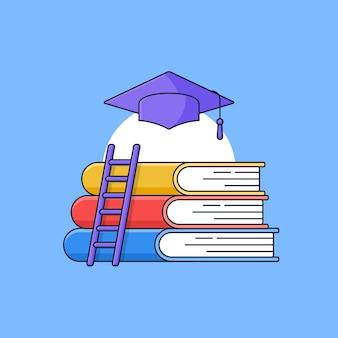 Pila de libros con escalera y sombrero de toga de graduación en la parte superior para la ilustración de esquema de vector de etapa educativa