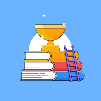 Pila de libros con escalera y trofeo dorado brillante en la parte superior para el éxito ilustración de esquema de etapa educativa