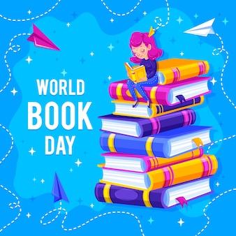 Pila de libros y lector en el mejor día mundial del libro