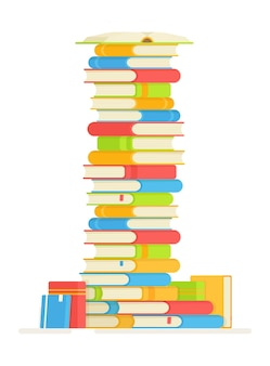 Una pila de libros para leer. ilustración de leer libros favoritos. haciendo tu tarea.