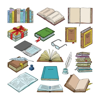 Pila de libros de libros de texto y cuadernos en estanterías en la biblioteca o librería ilustración conjunto de portada de literatura y libro electrónico sobre fondo blanco.
