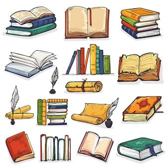 Pila de libros de libros de texto y cuadernos en estanterías en la biblioteca o en la librería ilustración conjunto de tintero y lectura de la portada de la literatura escolar aislado sobre fondo blanco.