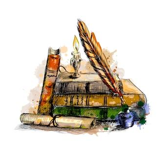 Pila de libros, pergamino, bolígrafo y vela