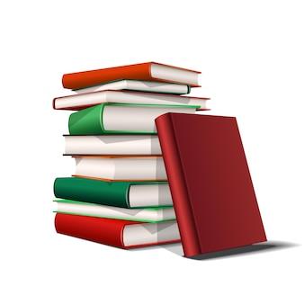 Pila de libros rojos y verdes. libros de varios colores aislados sobre fondo blanco. ilustración vectorial