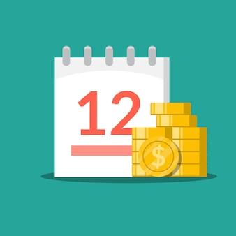 Pila de monedas y calendario