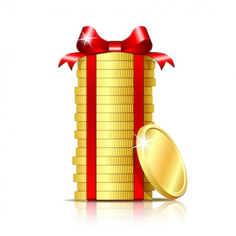 Pila de monedas con cinta roja y arco de regalo.