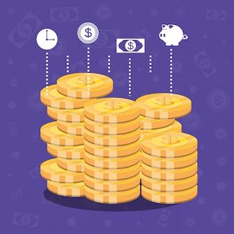 Pila de monedas dólar icono aislado