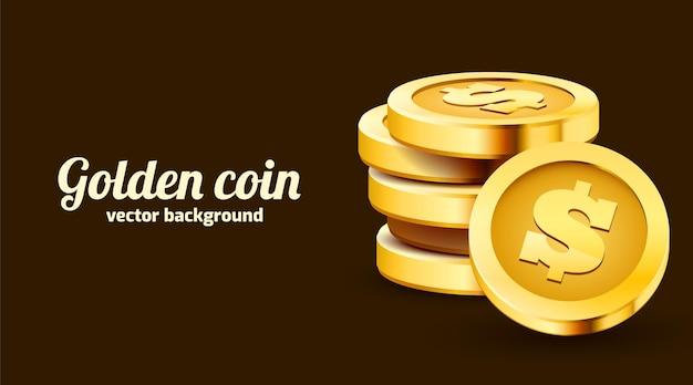 Pila de monedas de dólar de oro aisladas en negro.