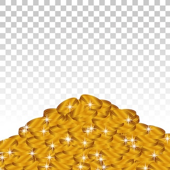 Pila de monedas de oro brillante