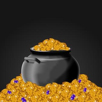 Pila de monedas de oro dinero olla regalo premio economía finanzas