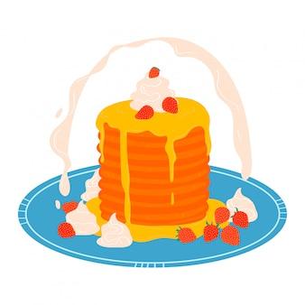 Pila de panqueques en placa, desayuno concepto icono aislado en blanco, ilustración de dibujos animados. apetitoso postre dulce pastelería.