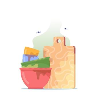 Pila de platos sucios, pila de tazones, platos y tazas con tabla de cortar para lavar